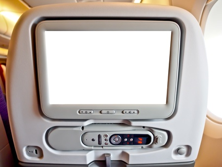 blank monitor of commercial airplane s seat