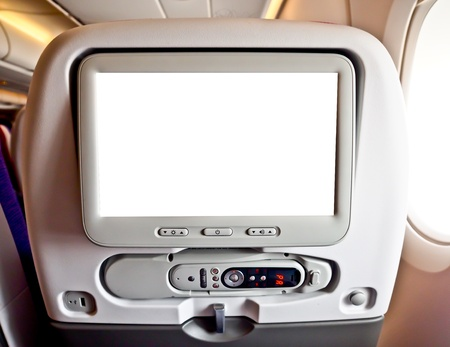 blank monitor of commercial airplane s seat (plane,\ airplane)