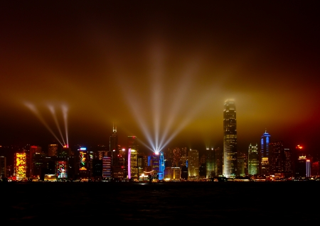 light performance show at Victoria harbour, Hong Kong, China on November 24th, 2012