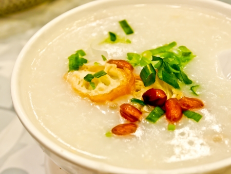 Hong Kong food, pork congee with fried cruller photo