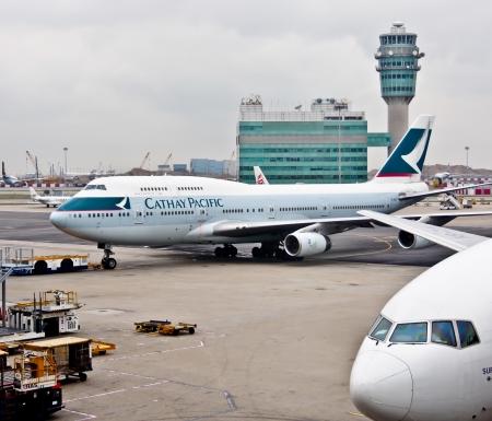 Cathay Pacific s airplane at Hong Kong aorport, November 26th 2012 Stock Photo - 16722363