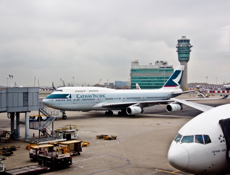 Cathay Pacific s airplane at Hong Kong aorport, November 26th 2012