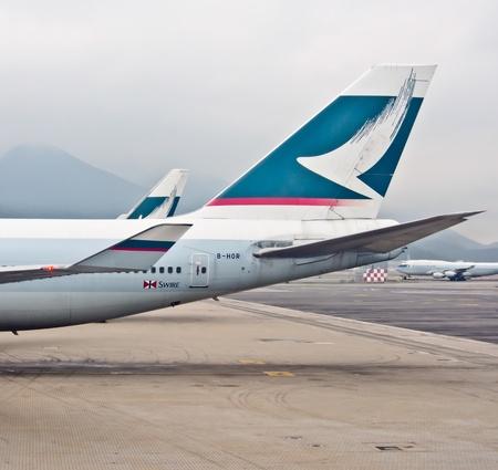 Cathay Pacific s airplane at Hong Kong aorport, November 26th 2012