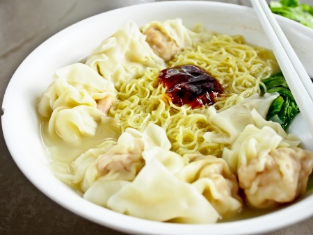 Hong Kong traditional food, wonton noodle photo