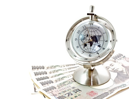 global model clock on Japanese notes photo