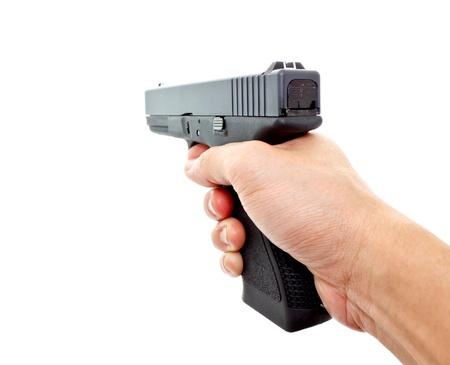 glock: hand aiming hand gun on white background