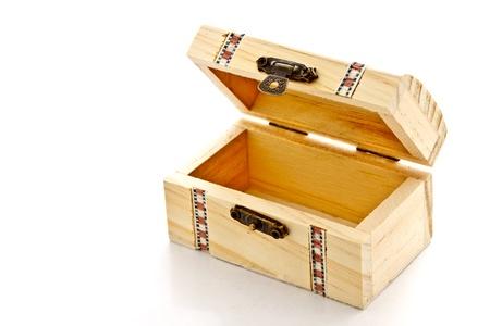 trinket: beautiful wooden box on white background