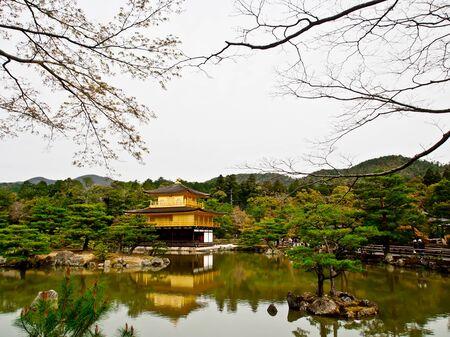 pavillion: golden pavillion of Kinkaku-ji temple, Kyoto, Japan