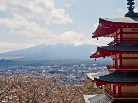 the famous Japan landmark Fujiyama mountain with Japanese red pagoda