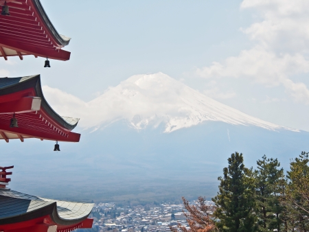 the famous Japan landmark Fujiyama mountain with Japanese red pagoda
