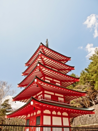 red Japanese pagoda with blue sky