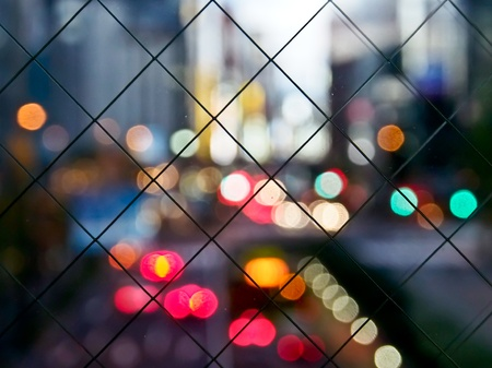 colorful bokeh in the city with grid photo