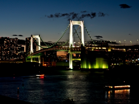 rainbow bridge at Tokyo harbor, Tokyo, Japan photo