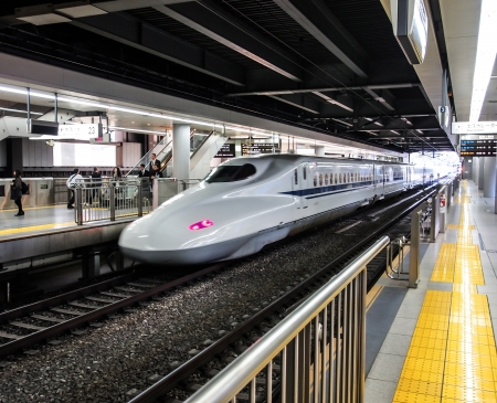 Japan high speed train or Shinkansen at a station in Tokyo, Japan