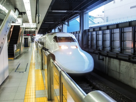 bullet train: Japan high speed train or Shinkansen at a station in Tokyo, Japan  Editorial
