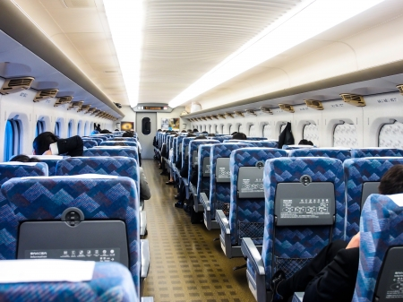 cabin of Shinkansen ,a high speed train, in Japan