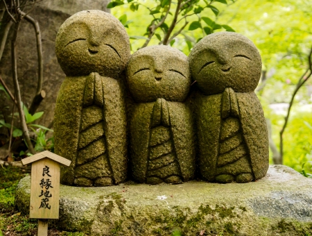 monks sculpture in a temple in Japan