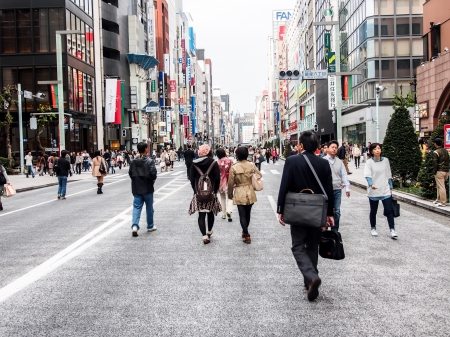 tokyo japan: tourists at Ginza walking street, Tokyo, Japan