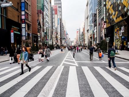 tourists at Ginza walking street, Tokyo, Japan