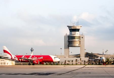 arriving: Airasia aircraft landing at Kuala Lampur airport