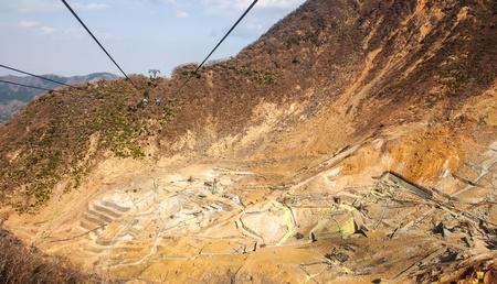 sulfur: sulfur mine at Hakone, Japan Stock Photo