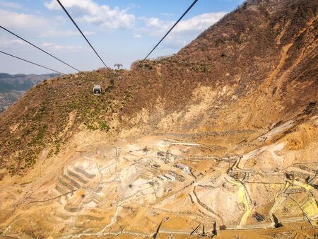 sulfur mine at Hakone, Japan photo