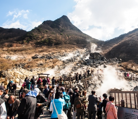 hot spring: tourists at Owakudani, the volcanic area of Mt  Fuji, Japan Editorial