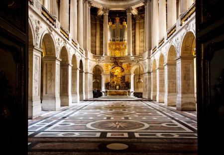 kerk in het paleis van Versailles, Frankrijk Redactioneel