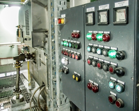 elektrische bedieningspaneel in industriële installaties Stockfoto