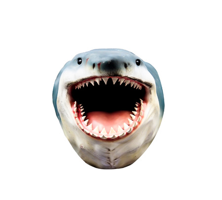 big mouth: isolated shark head model Stock Photo