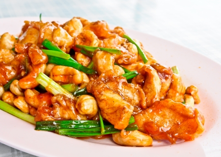 Chinese food, fried chicken with cashew nuts Stock Photo