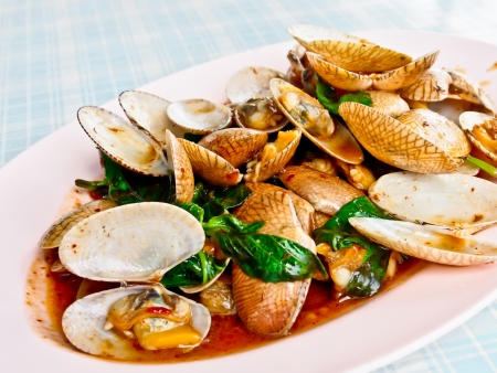 stir fried: Thai food, fried clam with chili paste