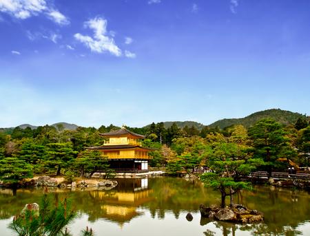pavillion: beautiful lanscape of the famous golden pavilion of Kinkakuji temple, Kyoto, Japan