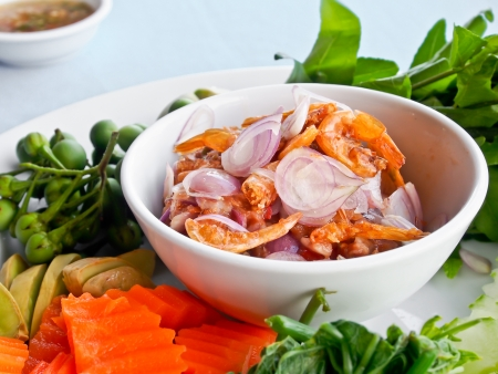Thai food, shrimp paste with boiled vetgetables photo