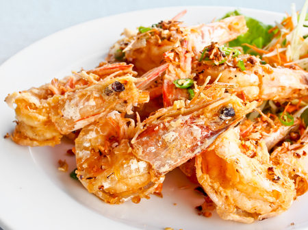 Thai food, fried prawns with chili and garlic photo