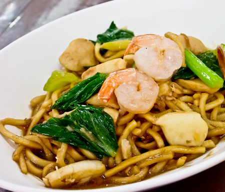 Chinese food, stir noodel with prawns photo