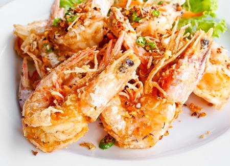 fish fry: Thai food, fried prawns with chili and garlic Stock Photo