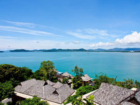 landsacape of a bay in Phuket, Thailand from a hill side resort photo
