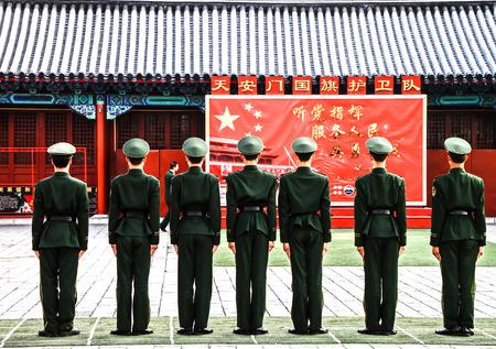 china people: Chinese guards at forbidden city, Beijing, China