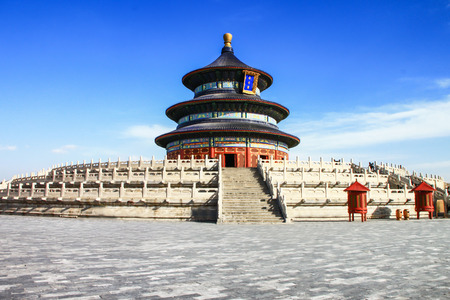 chinese pagoda: temple of heaven with blue sky, Beijing, China