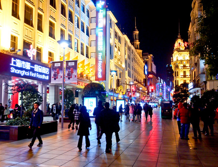 Nanjing shopping street at night, Shanghai, China