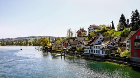 rhein: beautiful riverside village, Switzerland