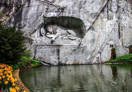 lucerne: the famous lion sculpture of Lucern, Switzerland