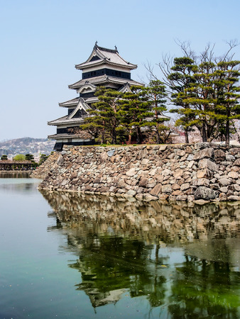Matsumoto castle with blue sky on spring, Japan