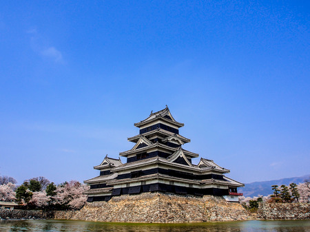 Matsumoto castle with blue sky, Japan