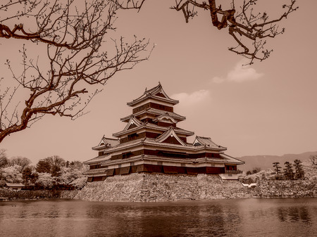 Matsumoto castle in sepia tone, Japan