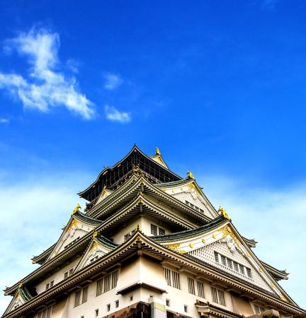 Osaka castle with blue sky, Japan