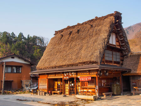 gassho zukuri: Japanese gassho house at UNESCO world heritage Shirakawago village, Japan