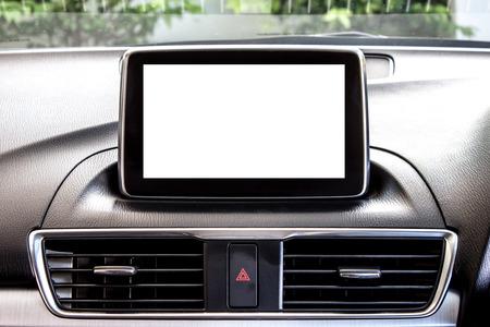 equipo de sonido: monitor LCD en blanco en un coche moderno Foto de archivo
