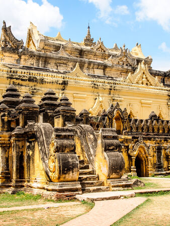 nu: Mahar Aung Mye Bon San Monastery (also known as Me Nu Oak Kyaung) in the ancient Royal City of Innwa (Ava) in Myanmar (Burma). Stock Photo